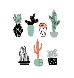 Hand drawn cacti set cute cartoon cactus in pots vector