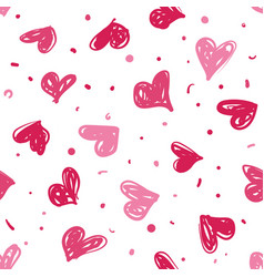 Hand drawn doodle hearts seamless pattern vector
