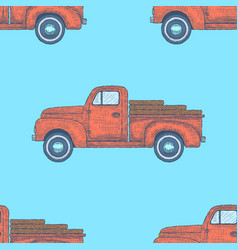 Hand drawn engraved retro vintage truck pattern vector
