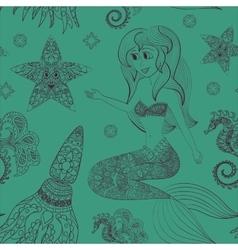 Hand drawn Ornamental Mermaid sea-horse and vector