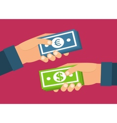 Hands holding money Currency exchange transfer and vector image