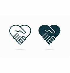 Handshake heart symbol vector