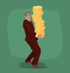Happy businessman carries big stack of gold coins vector