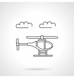 Helicopter in sky flat line icon vector image