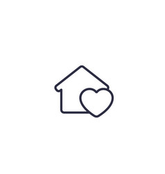 home with heart linear icon on white vector image