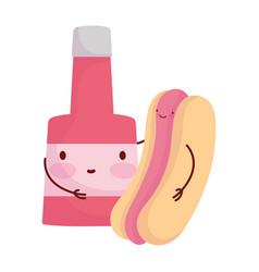 hot dog and sauce bottle menu character cartoon vector image