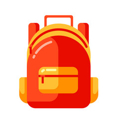 icon red school backpack in flat style vector image