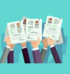 job competition candidates hold cv resume vector image