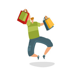 jumping customer with shopping bags shopaholic vector image