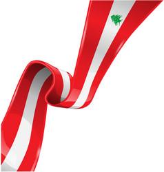 lebanon ribbon flag on white background vector image