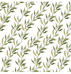 light background of branches with green leaves vector image