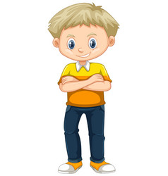 little boy in yellow shirt and jeans vector image