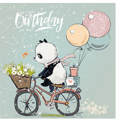 Little panda on bike vector