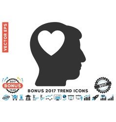 Love Heart Think Flat Icon With 2017 Bonus Trend vector