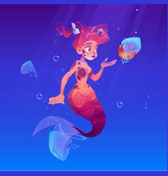 Mermaid and puffer fish in plastic bag in sea vector