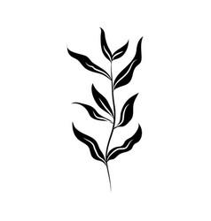 minimalist tattoo silhouette art herb and leaves vector image