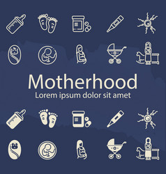 Motherhood thin line and outline icons set vector