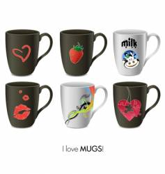mugs collection vector image