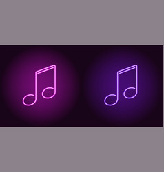 Neon icon of purple and violet musical note vector