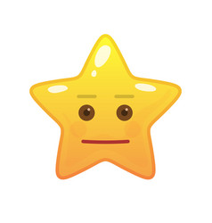 Neutral star shaped comic emoticon vector