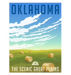 oklahoma united states retro travel poster vector image