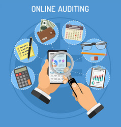 Online auditing tax process accounting concept vector