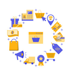 online store round concept banner in flat style vector image