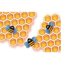 Origami gold honeycomb and honey bee in paper cut vector