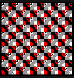 Pattern skull red white vector