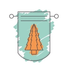 Pennant with christmas decoration vector