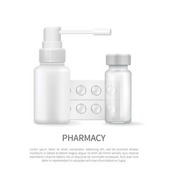 pharmacy poster blank medical containers capsules vector image