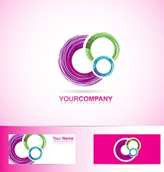 Pink colored circles logo vector