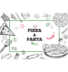 pizza and pasta frame vector image