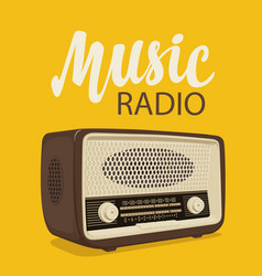 Poster for music radio with old radio receiver vector