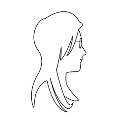 Profile head woman with glasses outline vector
