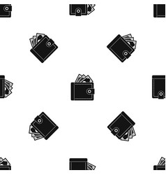 purse with money pattern seamless black vector image