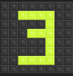 puzzle building blocks number three flat design vector image