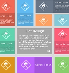 Road slippery icon sign Set of multicolored vector