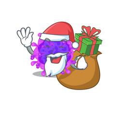 Santa alpha coronavirus cartoon with box gift vector