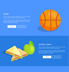 School lunch and sport web banners set vector