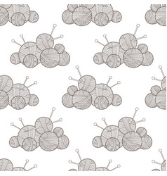 seamless pattern with yarn balls vector image