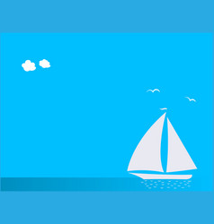 seascape with white sailboat yacht with copy space vector image