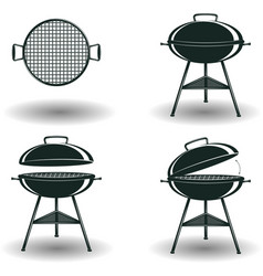 set monochrome bbq grill signs vector image