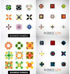 Set of colorful abstract symmetric geometric icons vector