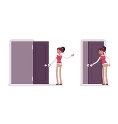 set of young female office worker opening closing vector image