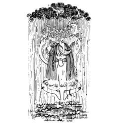 Shaman and rain vector
