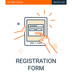 Site registration form icon tablet in hand vector