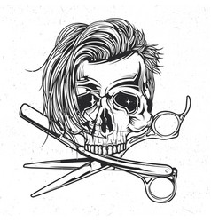Skull razor and scissors vector