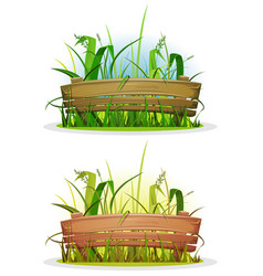 Spring blades grass with wood fence vector