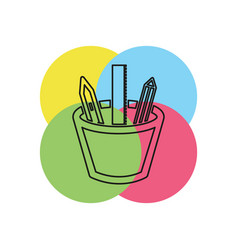 stationary icon pencil with pen and ruler vector image